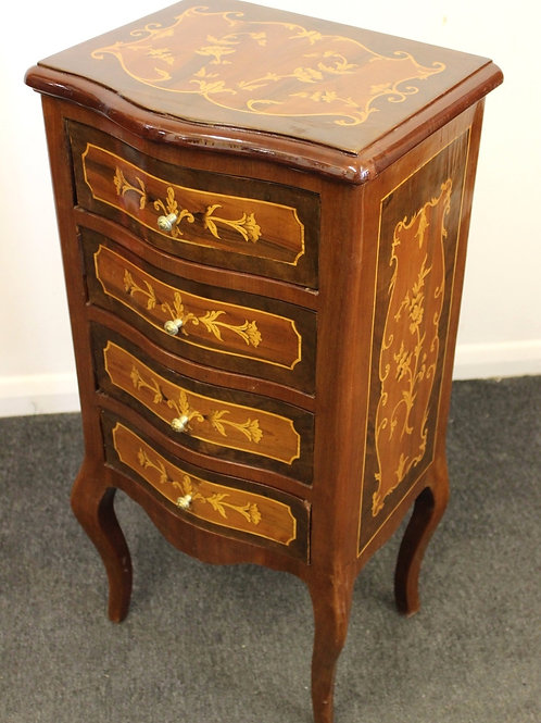 ANTIQUE FRENCH STYLE FURNITURE - INLAID BEDSIDE CABINET WITH 4 DRAWERS - C343