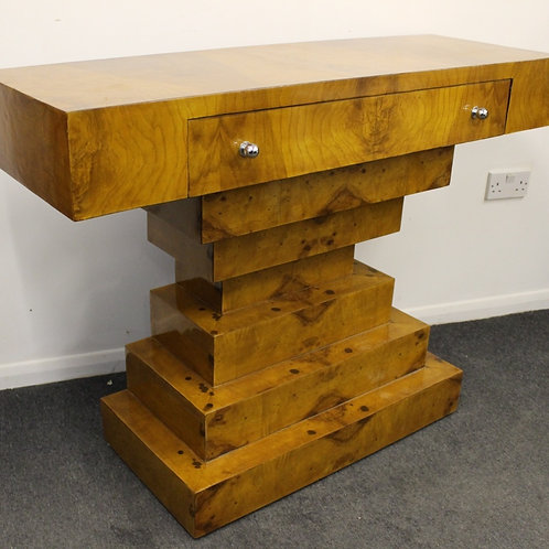 ANTIQUE ART DECO STYLE CONSOLE HALL TABLE IN WALNUT WITH DRAWER - HOME - C423