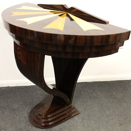 ANTIQUE ART DECO STYLE INLAID HALF MOON CONSOLE HALL TABLE IN ROSEWOOD - C414