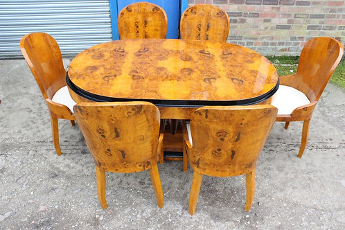 ANTIQUE ART DECO STYLE TABLE WITH 6 MATCHING CHAIRS IN WALNUT - DINING ROOM C402