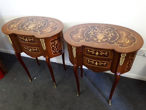 2 INLAID WOODEN OCCASIONAL TABLES - 514