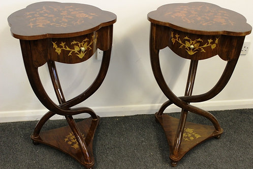 ART DECO FURNITURE STYLE - PAIR OF INLAID CROSS LEGGED TABLES - IN WALNUT - C203