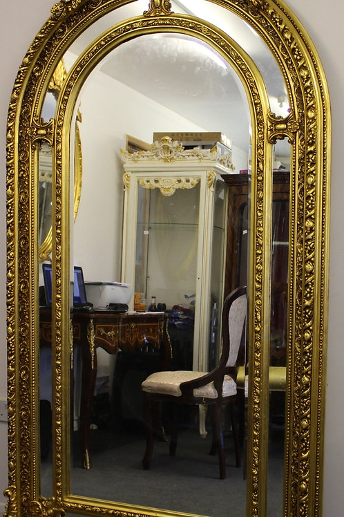 ANTIQUE VINTAGE STYLE LARGE LOUIS CARVED GOLD FRENCH MIRROR - BEVELED - C373