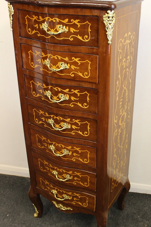 ANTIQUE FRENCH STYLE INLAID CHEST OF DRAWERS WELLINGTON - FURNITURE - C362