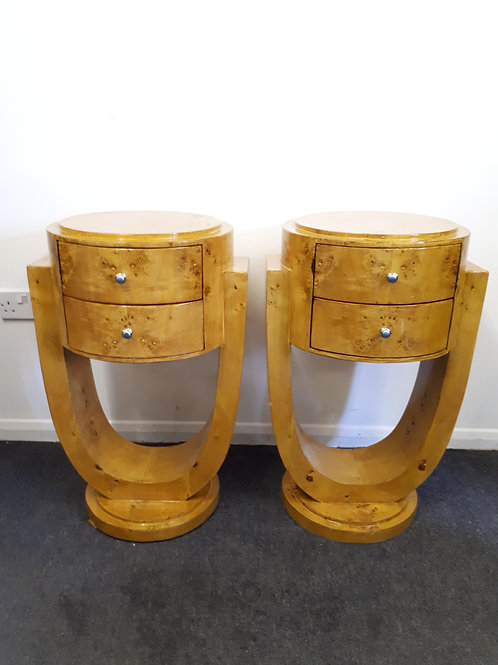 PAIR OF ART DECO STYLE BEDSIDE CABINETS/TABLES WITH DRAWERS - 511
