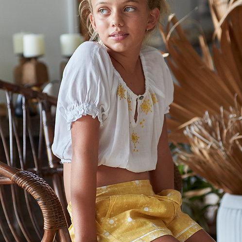 Tweens Embroidered top & side pocket shorts