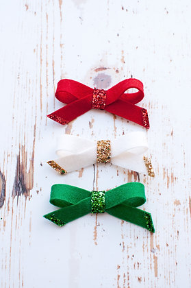 Christmas Simple Tie Bow with Glitter
