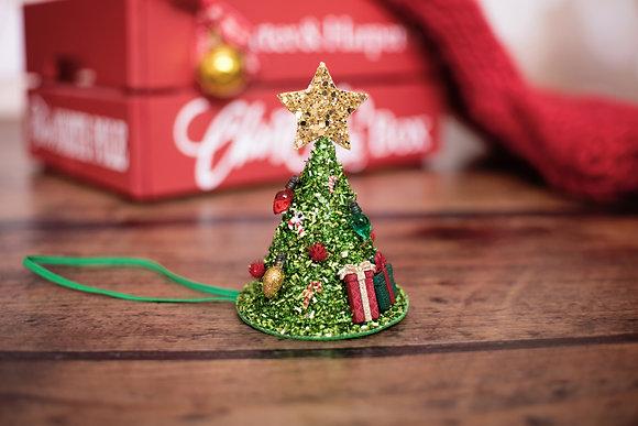 Festive Tinsel Christmas Tree Hat