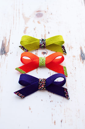 Halloween Simple Tie Bow with Glitter