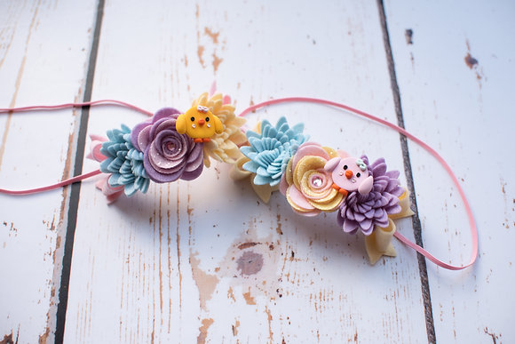 Easter Chick Flower and Bow Crown