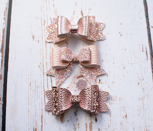 "Rose Gold Double 3.5"" Bow"