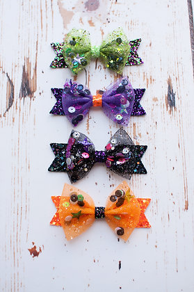 Halloween Tulle Sequin Bow