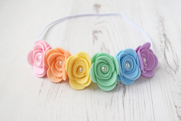 Pastel Rainbow Flower Crown