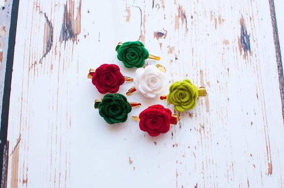 Christmas Small Single Rose Clip