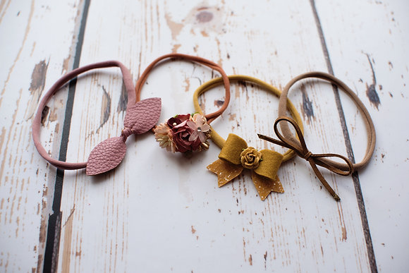 Set of 4 autumn dainty headbands