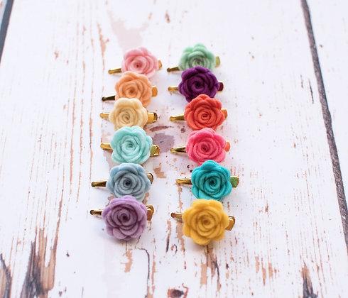 Rainbow Single Rose Clip set of 6