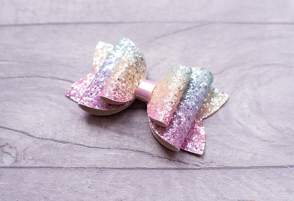 Pastel Ombre Glitter Bow