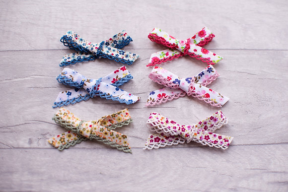Floral Little Frill Bow