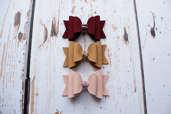 "Glitter Suede Double 3.5"" Bow"