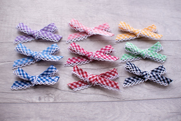 Gingham Little Frill Bow