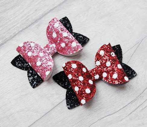 Pink or Red Spotty Bow