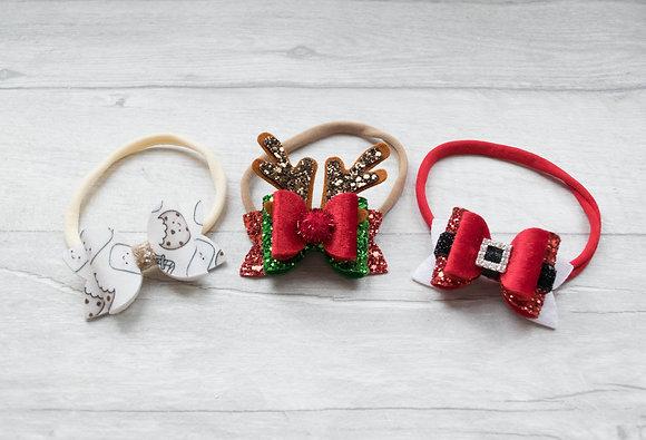 SMALL Santa, Reindeer, Cookies Bow