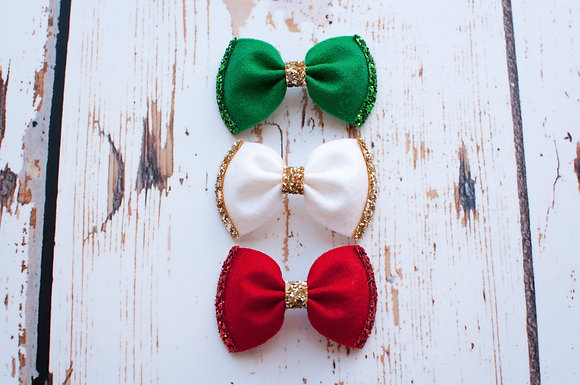 Christmas Glitter Pinch Bow