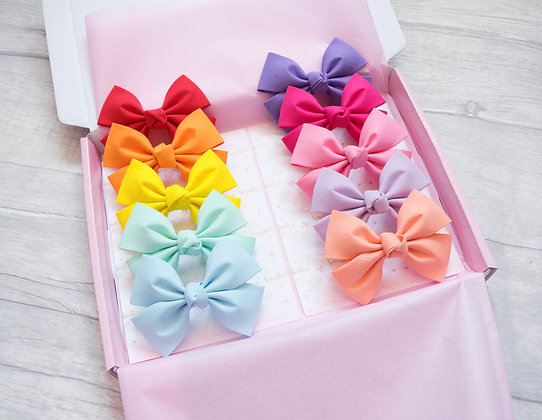 Set of 10 Classic Cotton Pinch Bow