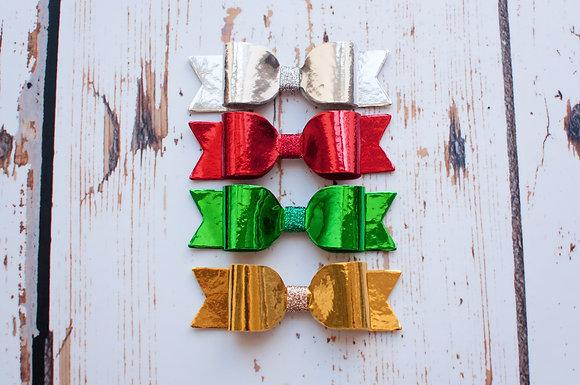 "Christmas Medium Metallic Single 3.5"" Bow"