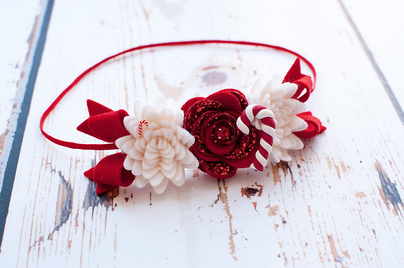 Candy Cane Flower & Bows Headband