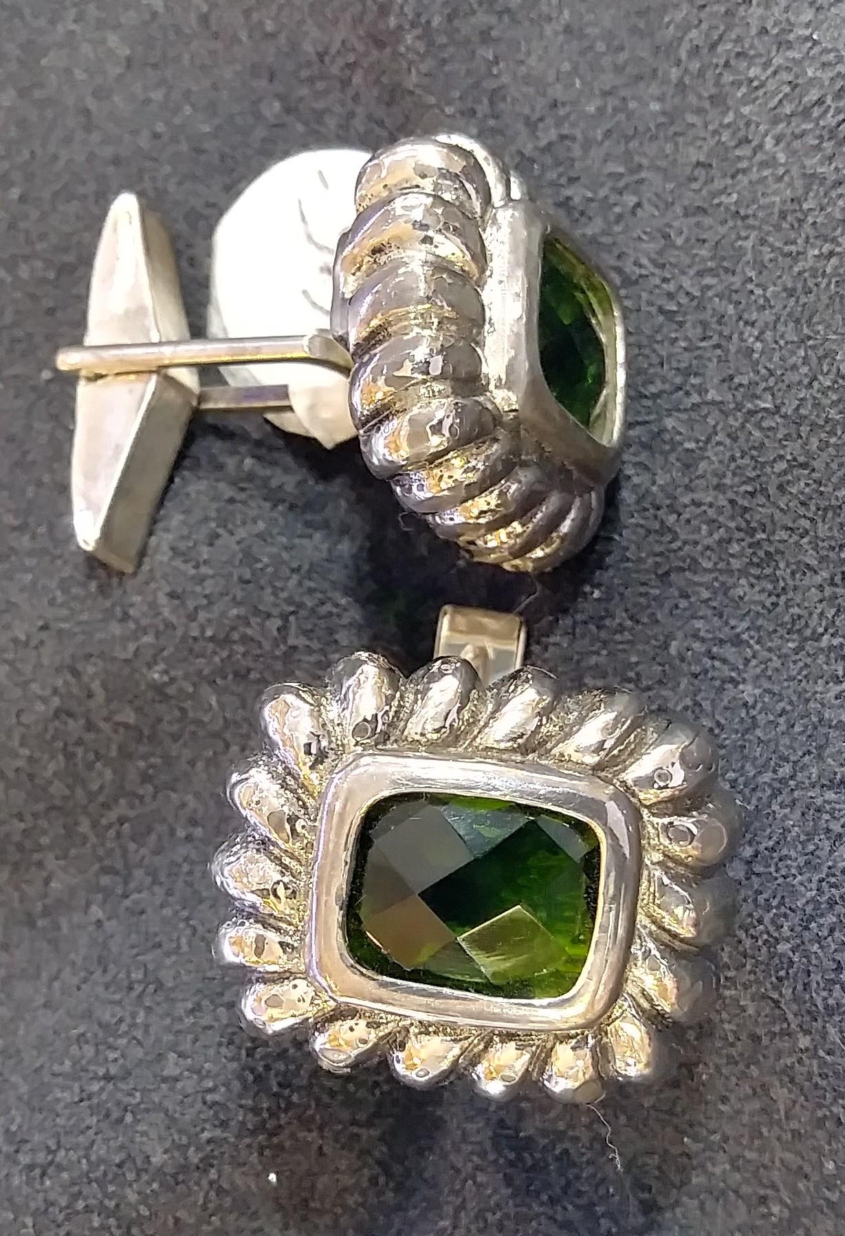 Green Stone Silver Cufflinks