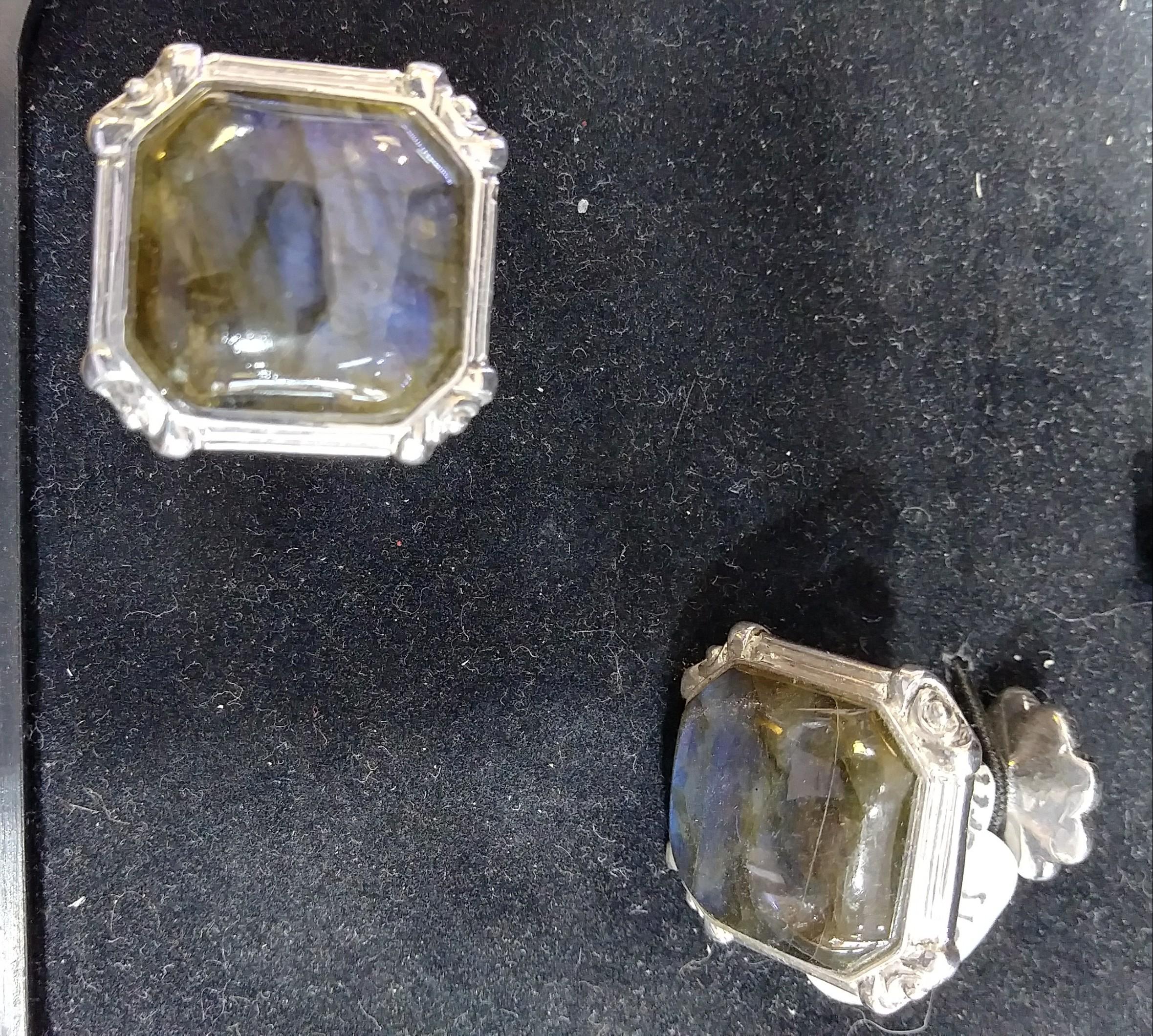 Labradorite Silver Cufflinks