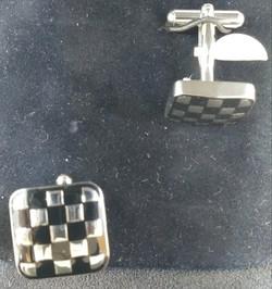Checkered Board enameled cufflinks