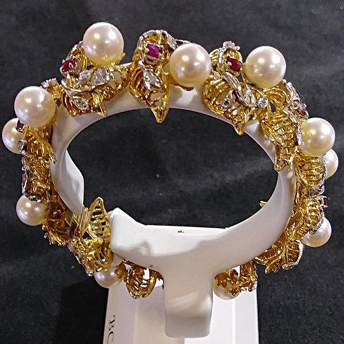 18kt Pearl,Diamond and Ruby Bracelet