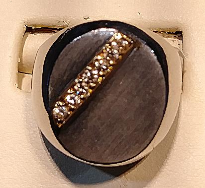 silver & gold diamond ring