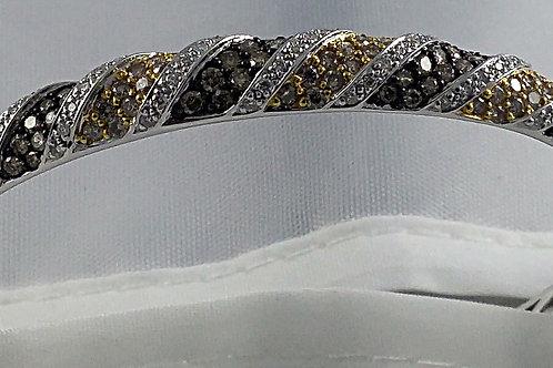 Multi Color Diamond Bangle Bracelet