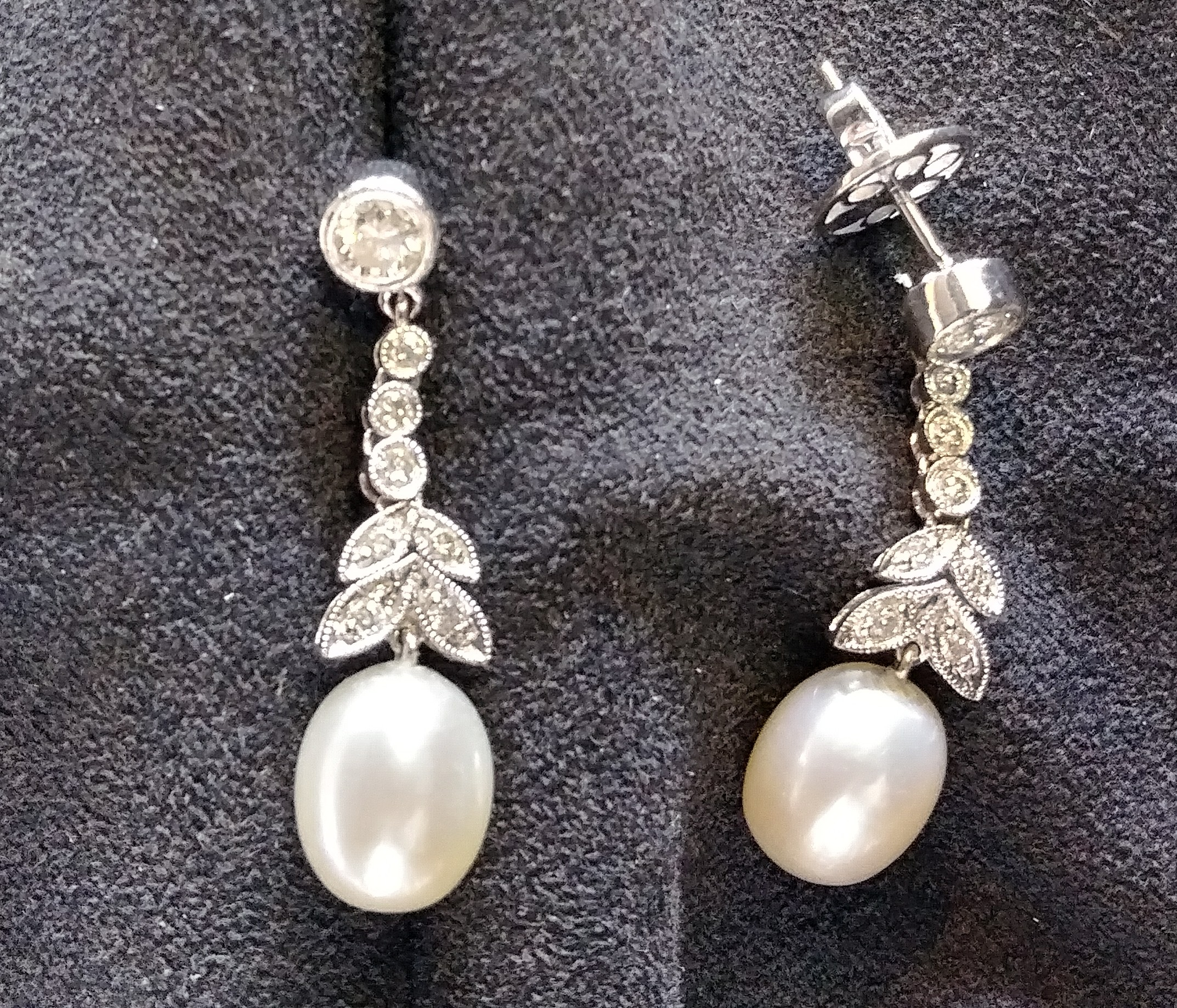 dangling diamond ,pearl earrings