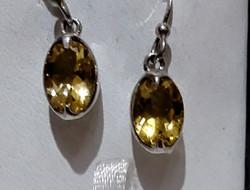 silver yellow topaz earrings
