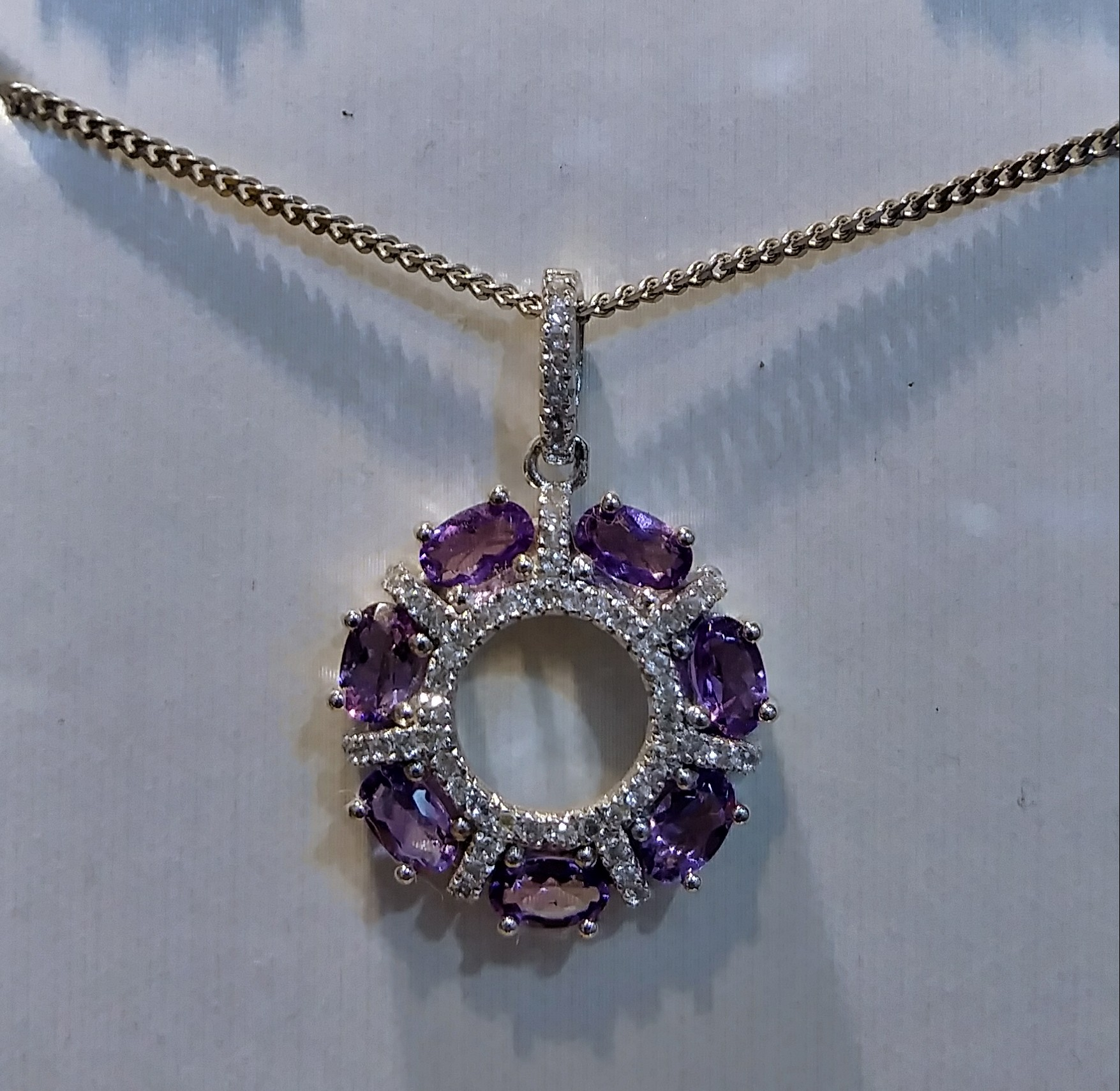 white topaz,amethyst necklace silver
