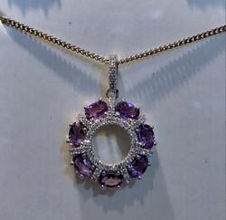 white topaz,amethyst necklace silver