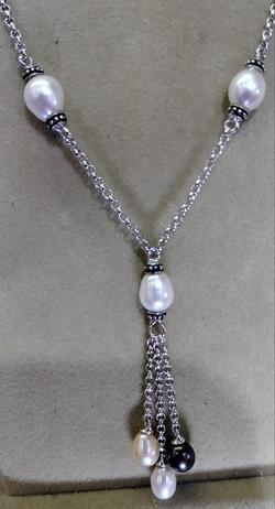 silver multi color pearl necklace