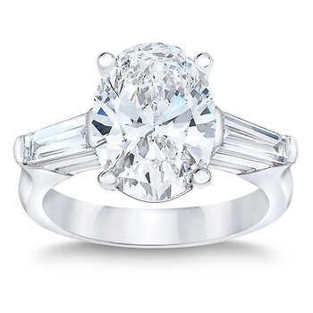 Oval Diamond,Baguette Engagement Ring