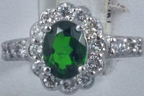 Green Turmaline Diamond Ring