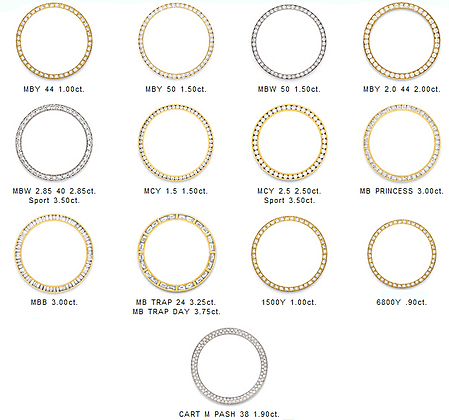 rolex and other brands diamond bezels for all watches