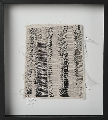 'Drawn II',  2019. Textile. 20 x 20 cm (framed).