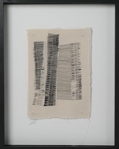 'Drawn I', 2019. Textile. 30 x 40 cm (framed).