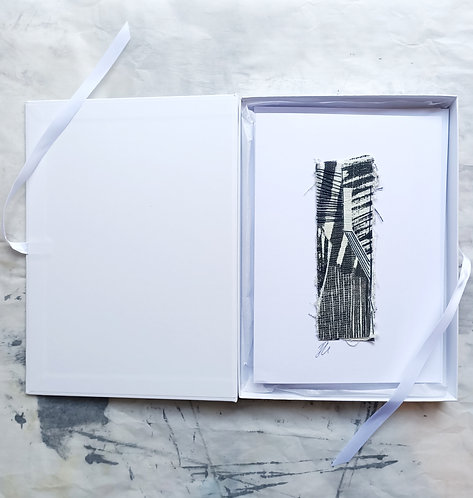 Winter City I, II and III'. Cloth Collage Gift Box.