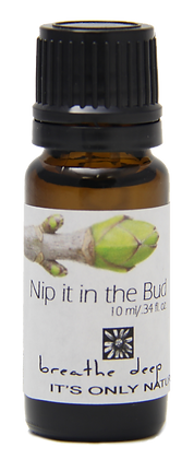 nip it in the bud essential oil blend dropper bottle