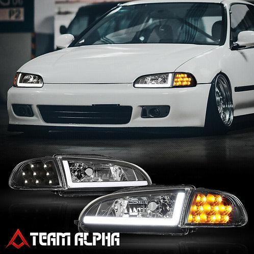 Honda Civic EG系 2/3Dr LED CORNER SIGNAL/L-BAR Black Headlight Lamp