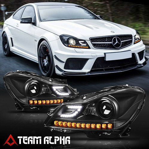Mercedes W204 C-Class 3D LED DRL/SIGNAL Black Projector Headlight